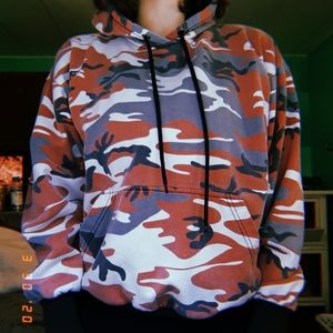 Red, white, and grey camo hoodie